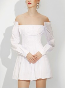 Off Shoulder White Long Sleeve Slim Homecoming Dress