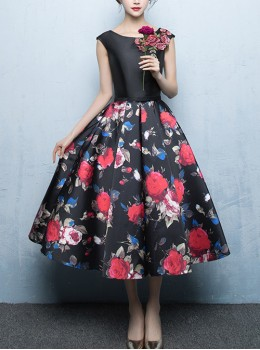 Red Flowers Printing A-Line Black Elegant Sleeveless Prom Dress