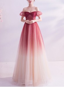 Off Shoulder Red Gradient Puff Sleeve Prom Dress