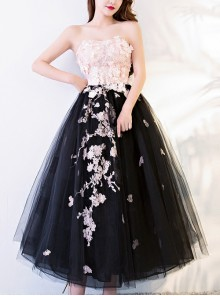 Sweet Pink Exquisite Embroidery Black Hem Strapless Prom Dress