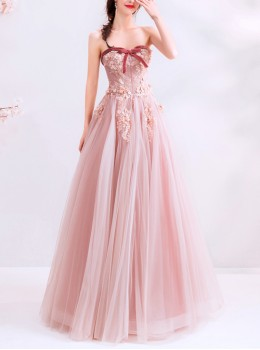 Pink Stereoscopic Applique Bean Paste Color Strapless Prom Dress