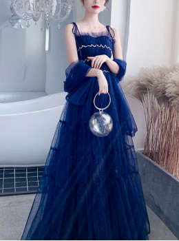 Banquet Slim Navy Blue Sling Long Style Prom Dress