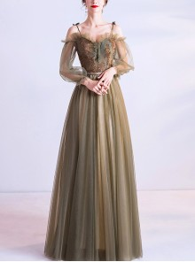 Olive Green Bead Ruffle Sling Long Sleeve Prom Dress