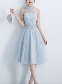 Halter Neck Slim Gray Sexy Medium Length Style Bridesmaid Dress