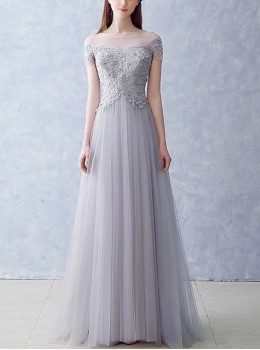 Stereoscopic Lace Off Shoulder Short Sleeve Voile Bridesmaid Dress