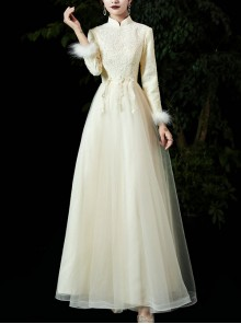 Champagne Stand Collar Long Sleeve Thick Warm Bridesmaid Dress