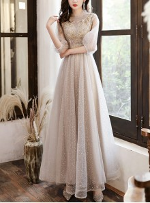 Gray Stand Collar Half Sleeve Sequins Long Bridesmaid Dress