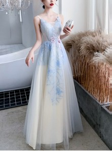 Detachable Sleeves Light Blue Embroidery Sling Long Bridesmaid Dress