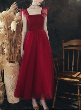 Wine Red Square Neck Sling Long Style Bridesmaid Dress