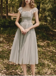 Elegant Gray Sling Bridesmaid Dress