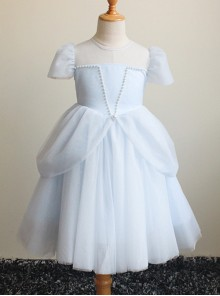 Pearl Embellished Puffy Princess Dress Three Color Flower Girl Dress