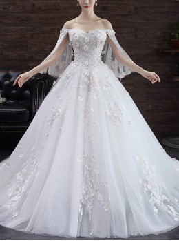 White Elegant Stereoscopic Flower Embroidery Lace Off Shoulder Wedding Dress