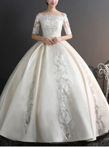 Retro Satin Off The Shoulder Ball Gown Half Sleeves Wedding Dress