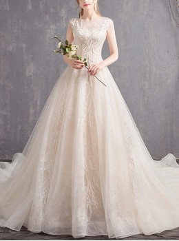 Exquisite Backless Round Neck Short Sleeve Lace Long Tailed Wedding Dress