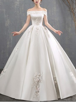 Satin Embroidery Off Shoulder Wedding Dress
