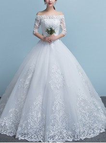 Lace Off Shoulder Embroidery Half Sleeve Wedding Dress