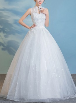 Chinese Style Stand Collar Sleeveless White Lace Embroidery Wedding Dress