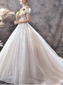 Champagne Off Shoulder Exquisite Sequins Lace Big Hem Tail Wedding Dress
