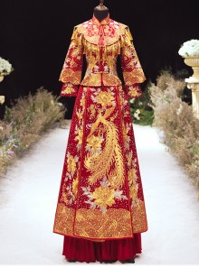 Chinese Style Red Satin Retro Gorgeous Phoenix Embroidery Wedding Dress