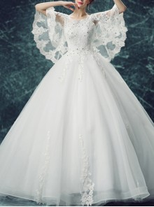 White Round Neck Backless Butterfly Sleeve Wedding Dress