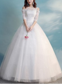 White Lace Off Shoulder Half Sleeve Ball Gown Wedding Dress