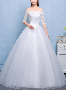 White Lace Petal Edge Off Shoulder Half Sleeve Floor-length Wedding Dress
