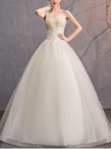 Embroidery Champagne Strapless Floor-length Wedding Dress