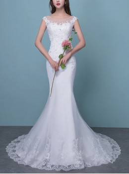 White Lace Long Tailed Slim Fishtail Wedding Dress