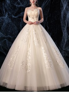 Champagne Floor-length Simplicity Sequins Strapless Mori Style Wedding Dress