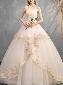 Champagne Romantic Strapless Floor-length Wedding Dress