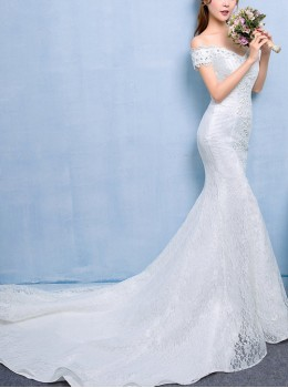 White Lace Off Shoulder Slim Fishtail Tailed Wedding Dress