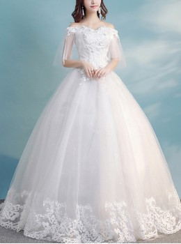 White Applique Lace Off Shoulder Floor-length Wedding Dress