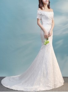 Off Shoulder Slim White Half Sleeve Fishtail Tailed Wedding Dress