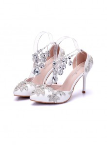 White PU Rhinestone Tassel Pointed-toe Stiletto Heel Women's Wedding Shoes