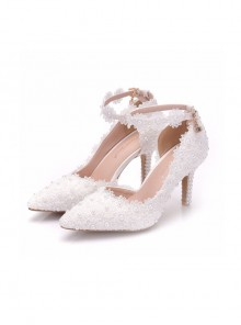 Pointed-toe White Lace Pearl Wedding Shoes