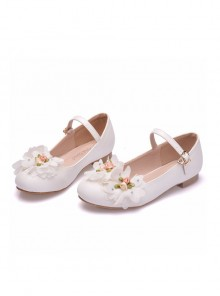 White Applique Round-toe Children's Wedding Shoes