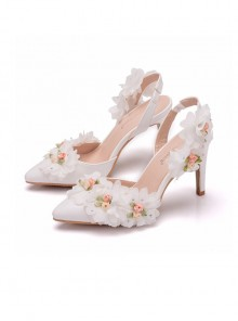 White Applique Pointed-toe Wedding High Heel Shoes
