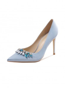 Light Blue Satin Pointed-toe High Heel Bride Wedding Shoes