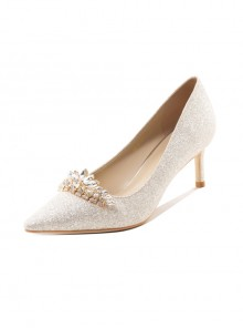 Creamy-white Pointed-toe Sequins Bride Wedding High Heel Shoes