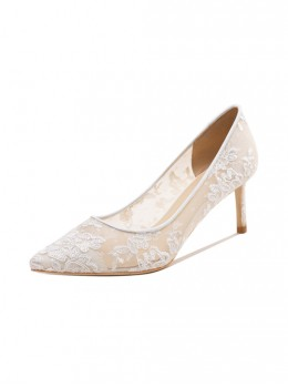 White Lace Embroidery Pointed-toe Wedding High Heel Shoes