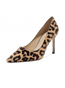 Sexy Leopard Horse Hair Pointed-toe High Heel Shoes