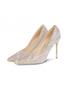 Gold Powder Vamp Bride Wedding Pointed-toe High Heel Shoes