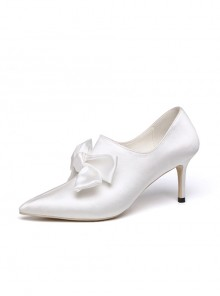 Pointed-toe White Satin Bowknot Autumn Winter Wedding High Heel Shoes