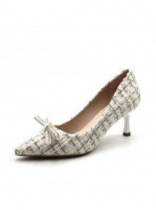 Pointed-toe Elegant Plaid Suede High Heel Shoes