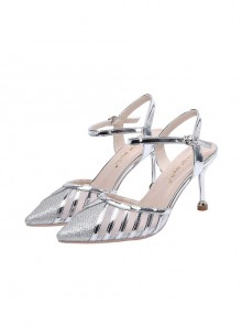 Patent Leather Pointed-toe Mesh Yarn Stiletto High Heel Shoes