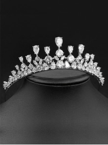 Silver High-grade Zircon Exquisite Wedding Bride Crown Tiara