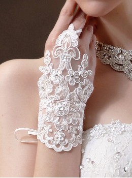 Bride Wedding Gloves Sun-proof Lace Hollow Out Short Style Fingerless Gloves