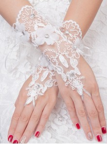 Bride Embroidery Applique Short Style Wedding White Fingerless Gloves