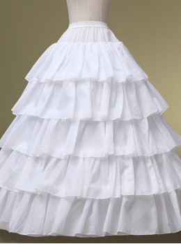 Four Layers Steel Ring Ball Gown White Ruffle Edge Petticoat