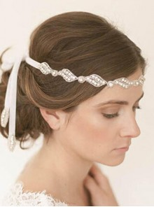 Rhinestone White Ribbon Bride Headband